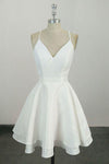 Cute Spaghetti Straps White V Neck Knee Length Short Prom Dress Homecoming Dress H1011