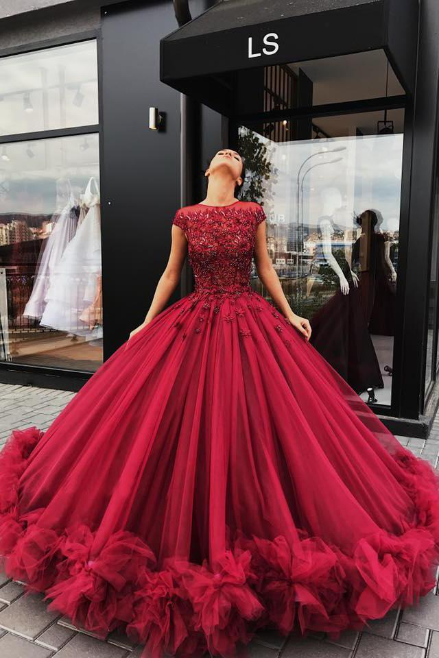 Red Tulle Appliques Ball Gown Round Neck Prom Dress Sweet 16 Dresses Quinceanera Dresses JS464