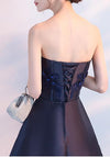 Navy Blue Beads Appliques Strapless A-Line Lace up Homecoming Dress Graduation Dress JS573