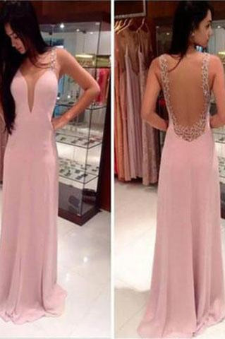 Pink Long Chiffon See Through Sexy V-Neck Sleeveless A-Line Yarn Prom Dresses JS18