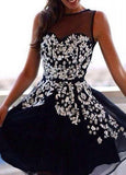 Top Selling Gorgeous Beading Knee Length Short Party Dresses Homecoming Dresses SME559
