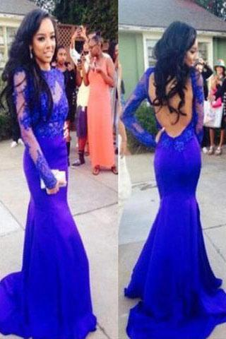 Sexy Mermaid High Neck Royal Blue Long Sleeve Open Back Lace Prom Dresses JS09