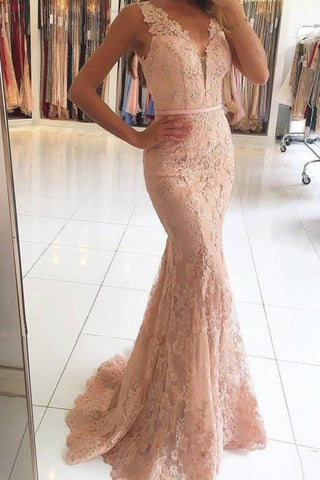 Sexy Mermaid Lace Appliques V Neck Beads Sleeveless Long Prom Dresses SME37