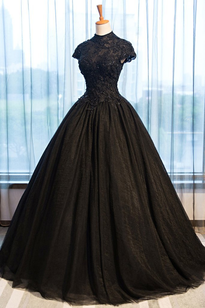 Black Tulle Cap Sleeve Long High Neck Beads Ball Gown Open Back Prom Dresses JS103