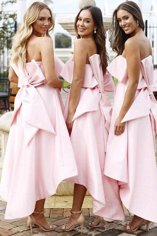 A Line Unique Strapless High Low Pink Satin Bridesmaid Dresses with Bowknot SME14