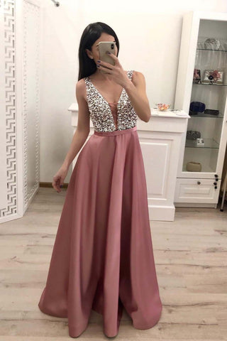 Elegant A Line V Neck Beading Prom Dresses Straps Satin Evening Dresses JS496