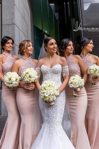 Elegant Lace & Satin Blush Halter High Neck Mermaid Bridesmaid Dresses