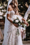 Elegant Mermaid Lace Sweetheart Beach Wedding Dresses Boho Bridal Dresses JS614