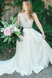 Elegant Spaghetti Straps V Neck Chiffon Backless Beach Wedding Dresses Bridal Gowns W1101