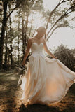 Elegant Strapless Sweetheart Ivory Chiffon Wedding Dresses Backless Wedding Gowns W1091