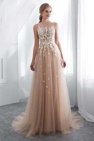 Elegant Tulle Sleeveless Prom Dresses Long Lace Appliques High Neck Evening Gowns JS508