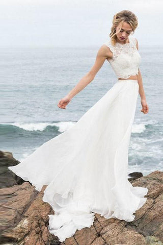 Elegant Two Pieces Straps Chiffon Wedding Dresses with Lace Beach Bridal Gowns SME1026