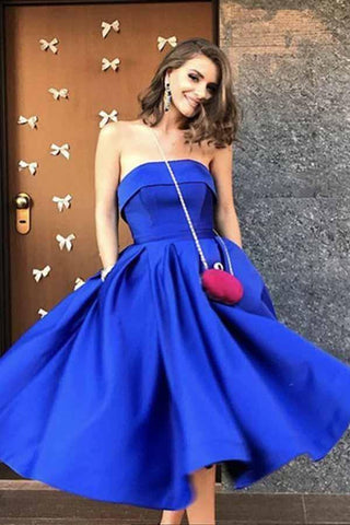 Royal Blue Satin Strapless Ball Gowns Tea Length Short Prom Dress Homecoming Dresses JS09