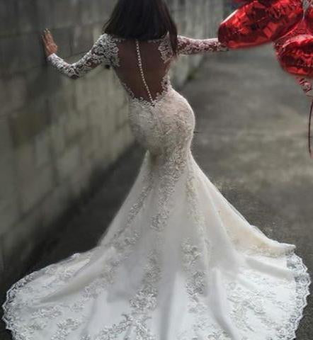 Sexy White Yarn Button Back Long Sleeve Lace Mermaid Charming Chapel Trailing Wedding Dress JS171