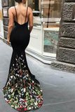 Mermaid V-Neck Court Train Black Stretch Satin Spaghetti Straps Prom Dress with Appliques JS461