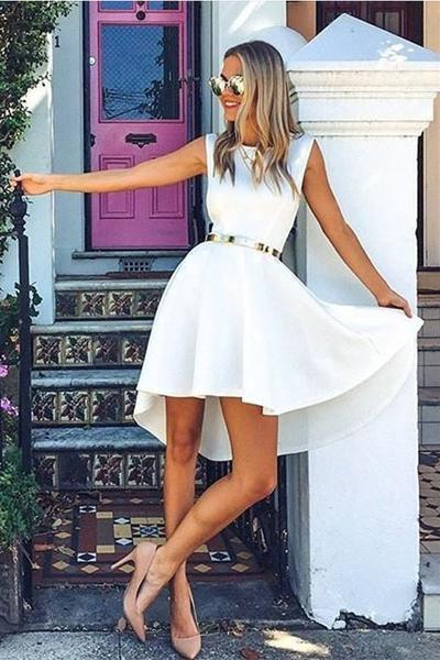 High Low Bateau Sleeveless High Neck White Satin Above Knee Homecoming Dress JS339