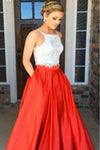 Two-piece Square Neck Red Real Made Prom Dress Sexy Prom Dress for Teens Party Dresses JS114