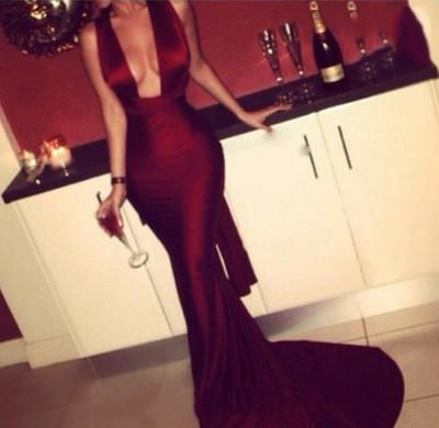 Modest Mermaid Dark Burgundy Red Long Criss Cross Fitted Sexy Backless Evening Dresses JS17