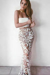 White Mermaid Two Pieces Lace Sleeveless Evening Dresses Long Prom Dresses JS325