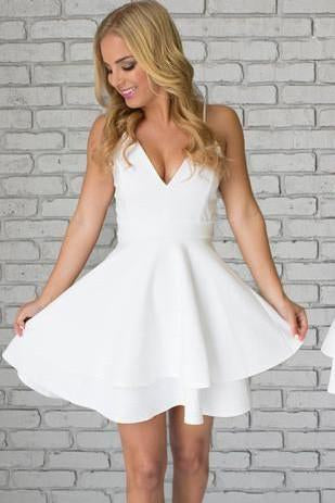 White Satin Spaghetti Straps Short Mini White V neck Homecoming Dresses JS103
