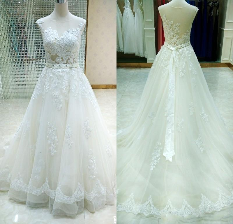 Sheer Castle Ivory Ball Illusion Back Appliques Lace Chapel Train Wedding Dress JS198
