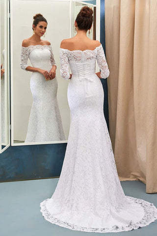 Mermaid Off-the-Shoulder Lace Sweep Train 3/4 Sleeve Top Lace-up Wedding Dresses SME634