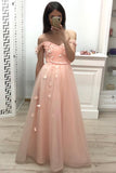 Off the Shoulder Sweetheart Tulle Prom Dresses Pleats Prom Gowns With Flowers JS903