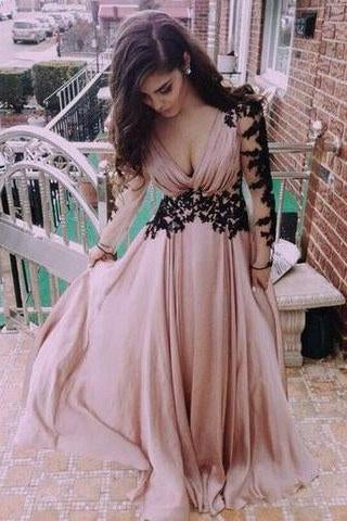 Deep V neck Prom Dress Fashion Long Sleeves Appliques Black And Pink Chiffon Prom Dress JS138