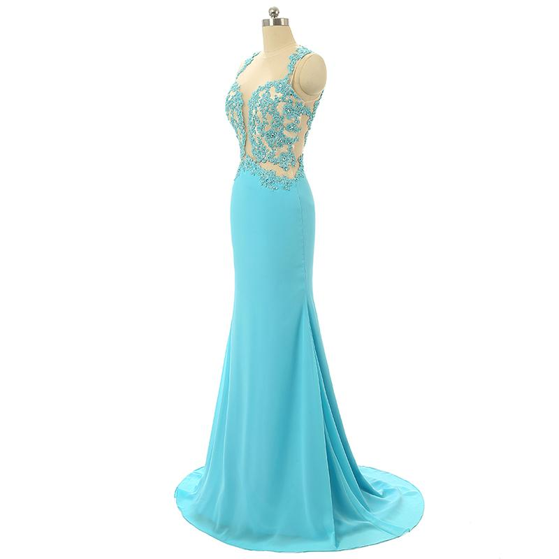 Mint Sheer Back Scoop Chiffon Mermaid Prom Dresses Sleeveless Prom Dresses JS796