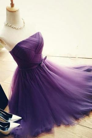 Elegant A-Line Strapless Purple Tulle Short Homecoming Dress with Bowknot JS96