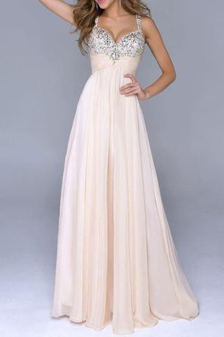 Pale Pink Unique A Line with Spaghetti Straps Open Back Backless Chiffon Prom Dresses JS29