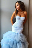 Light Blue Mermaid Strapless Tulle Prom Dresses Bowknot Layers Evening Dresses JS516