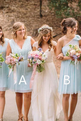 Light Blue V Neck One Shoulder Short Bridesmaid Dresses Chiffon Wedding Party Dress JS963