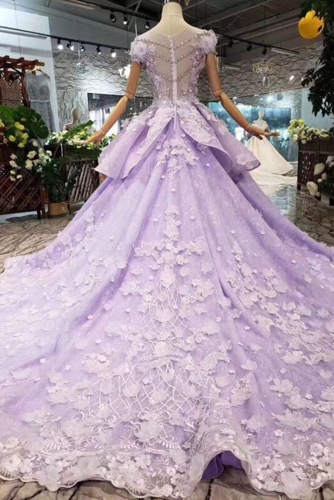 Lilac Ball Gown Short Sleeve Prom Dresses with Flowers Gorgeous Quinceanera Dress JS968