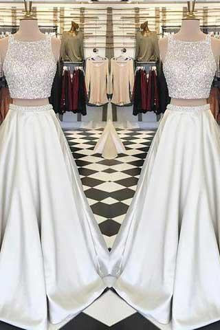 Stunning White Satin Two Pieces Sequins Rhinestone Round Neck A-line Prom Dresses JS814
