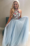 Long A-line Light Sky Blue Tulle Flowy Halter Long Prom Dresses Cheap Evening Dress JS404