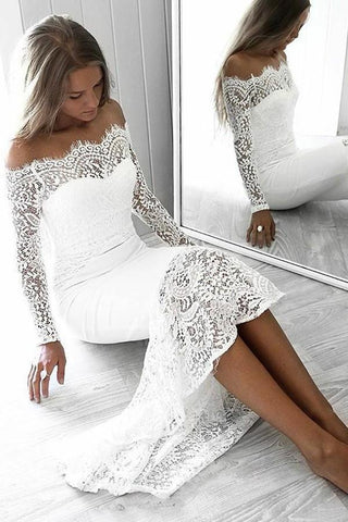 Long Sleeve Lace Appliques Sheath White Prom Dresses Off the Shoulder Wedding Dress SMEP1129