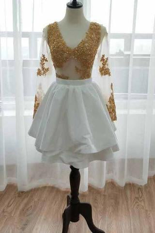 Long Sleeve V Neck White Homecoming Dresses Gold Sequins V Neck Short Prom Dress H1072