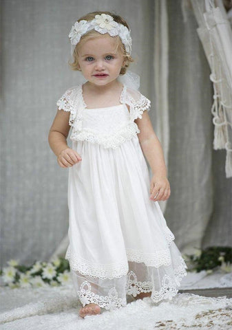 Lovely Beach Boho Flower Girl Dresses For Weddings Pageant Dresses Short Sleeve Square Cris Cross Back Lace Tulle Christening Gowns