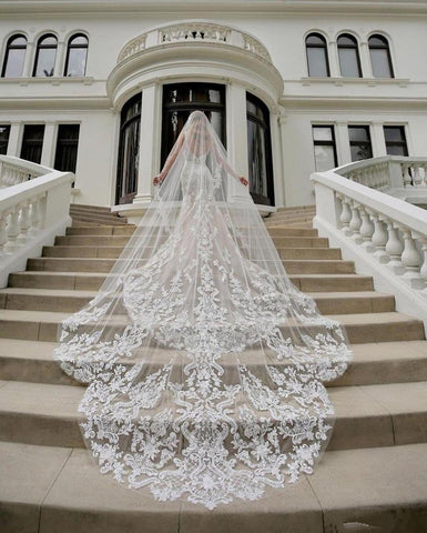Luxury Cathedral Length Bridal Veils Vestido Long Wedding Veil Ivory Or White Veil With Free Comb