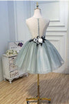 Luxury Waist Flowers See Through Backside Lolita Dress Short Tulle Homecoming Dresses H1335