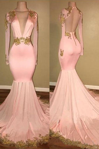 Mermaid Appliques Deep V Neck Long Sleeve Prom Dresses Long Cheap Evening Dress JS761