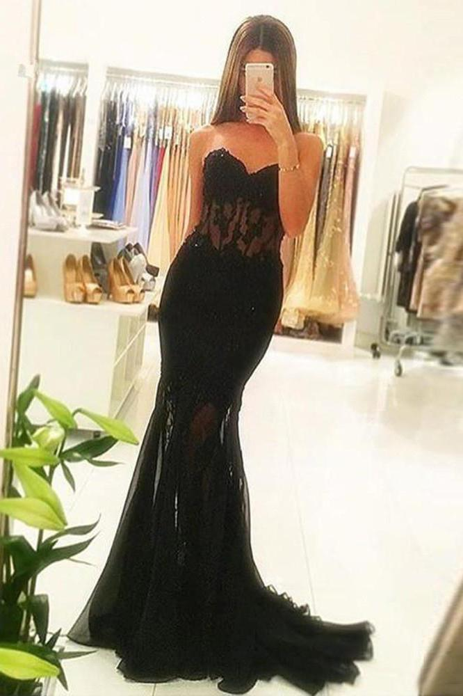Mermaid Black Lace Strapless Sweetheart Prom Dresses Cheap Evening Dresses JS725