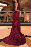 Mermaid Burgundy Side Slit V Neck Spaghetti Straps Prom Dresses Formal Dresses JS832