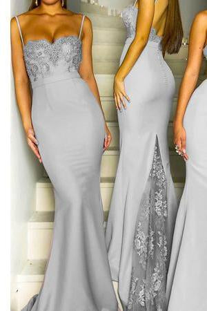 Mermaid Grey Spaghetti Straps Sweetheart Lace Satin Bridesmaid Dresses SME419