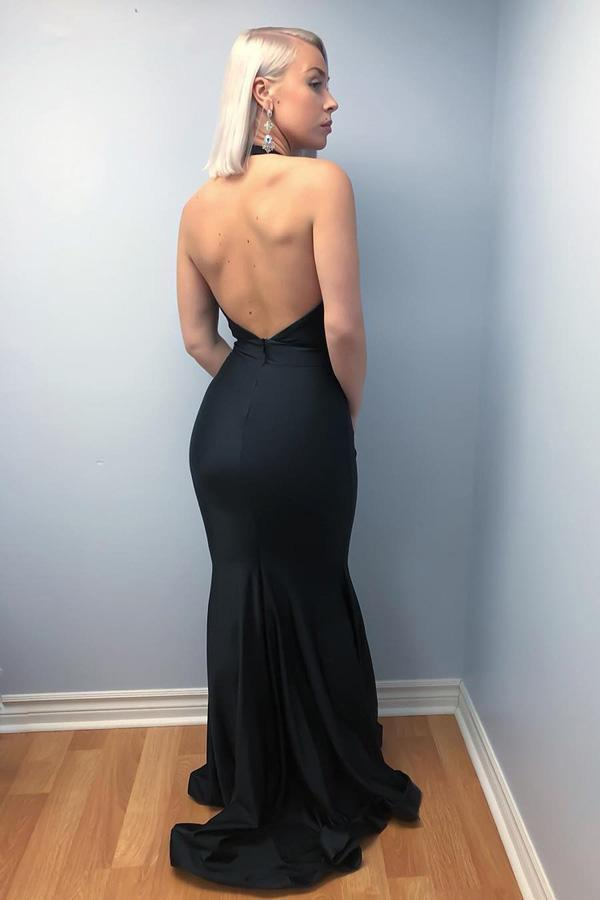 Mermaid Halter Backless Sweep Train Black Prom Dresses with Deep V Neck JS630