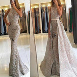 Mermaid High Neck Detachable Lace Sequins Prom Dresses Long Formal Dresses JS371