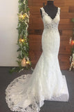 Mermaid Lace Beads Appliques V Neck Ivory Wedding Dresses Long Bridal Dress JS657