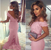 Mermaid Sky Blue Off the Shoulder Prom Dresses Long Sweetheart Satin Evening Dress JS644