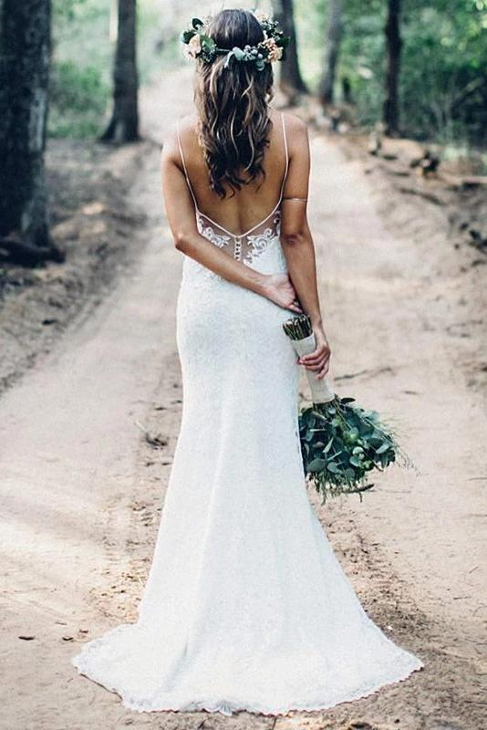 Mermaid Spaghetti Straps Beach Wedding Gowns Sexy V Neck Backless Lace Wedding Dress W1045